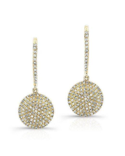 Anne Sisteron - Metallic 14kt Yellow Gold All Diamond Disc Earrings - Lyst
