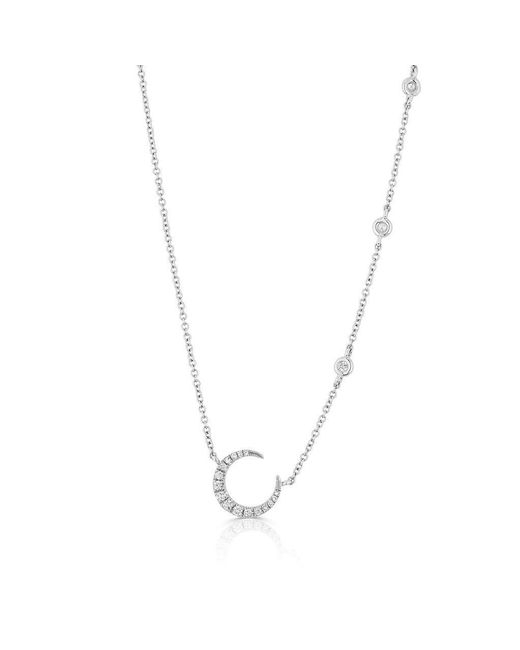 Anne Sisteron - Multicolor 14kt White Gold Diamond Mini Lunar Necklace - Lyst