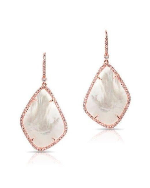 Anne Sisteron - Multicolor 14kt Rose Gold Mother Of Pearl Organic Diamond Earrings - Lyst
