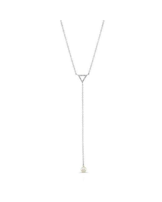 Anne Sisteron - Metallic 14kt White Gold Diamond And Pearl Lariat Necklace - Lyst