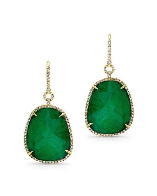 Anne Sisteron - Green 14kt Yellow Gold Emerald Diamond Earrings - Lyst