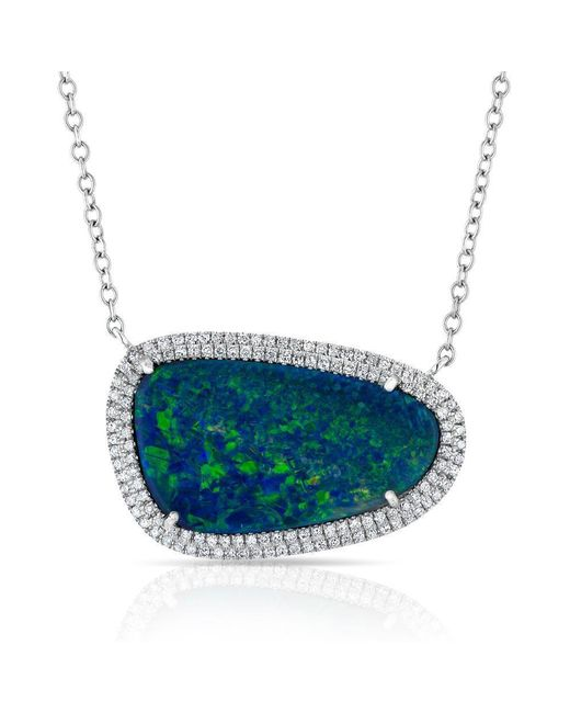 Anne Sisteron - Blue 14kt Yellow Gold Organic Oval Opal Diamond Necklace - Lyst