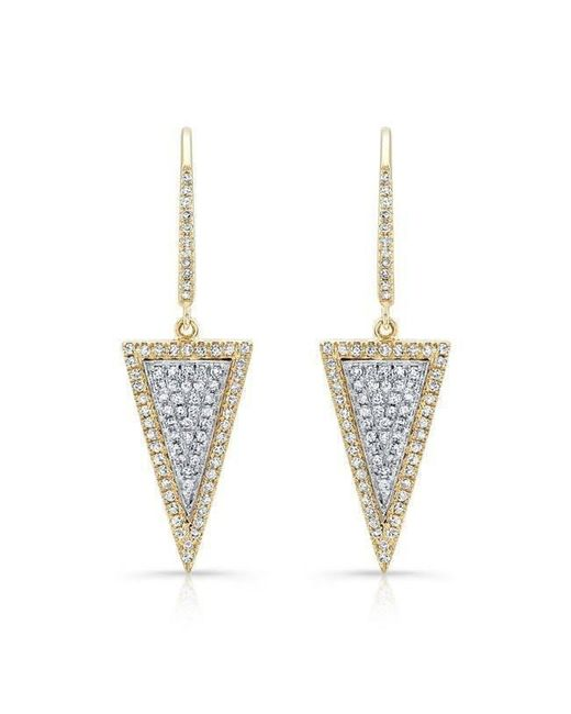 Anne Sisteron - Metallic 14kt Yellow And White Gold Diamond Triangle Earrings - Lyst