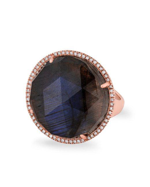 Anne Sisteron - Metallic 14kt Rose Gold Labradorite Diamond Round Cocktail Ring - Lyst