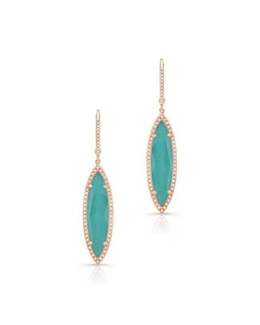 Anne Sisteron | Blue 14kt Rose Gold Diamond Turquoise Turquesa Small Marquis Earrings | Lyst