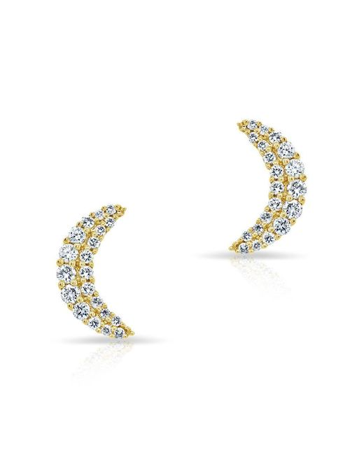 Anne Sisteron - Metallic 14kt Yellow Gold Diamond Crescent Moon Stud Earrings - Lyst