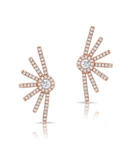 Anne Sisteron - Metallic 14kt Rose Gold Diamond Deco Stud Earrings - Lyst