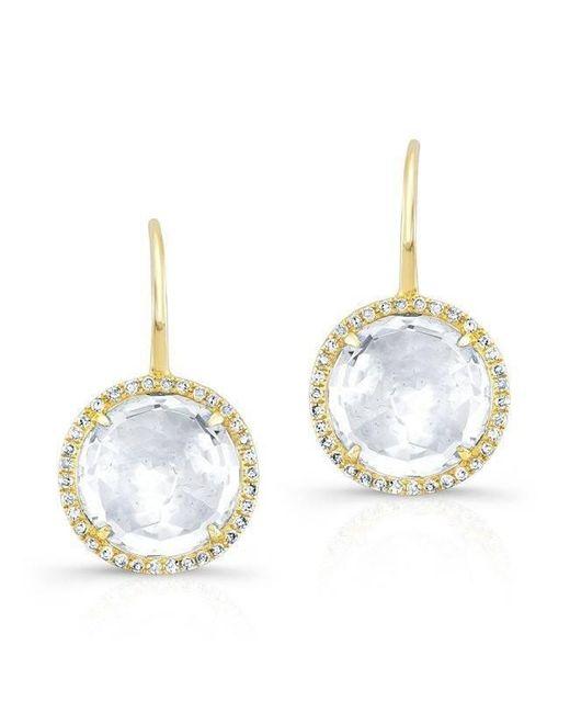 Anne Sisteron - Metallic 14kt Yellow Gold White Topaz Diamond Round Earrings - Lyst