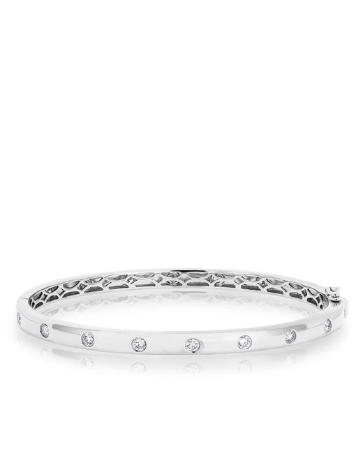 Anne Sisteron | Metallic 14kt White Gold Sparkle Full Diamond Bangle Bracelet | Lyst