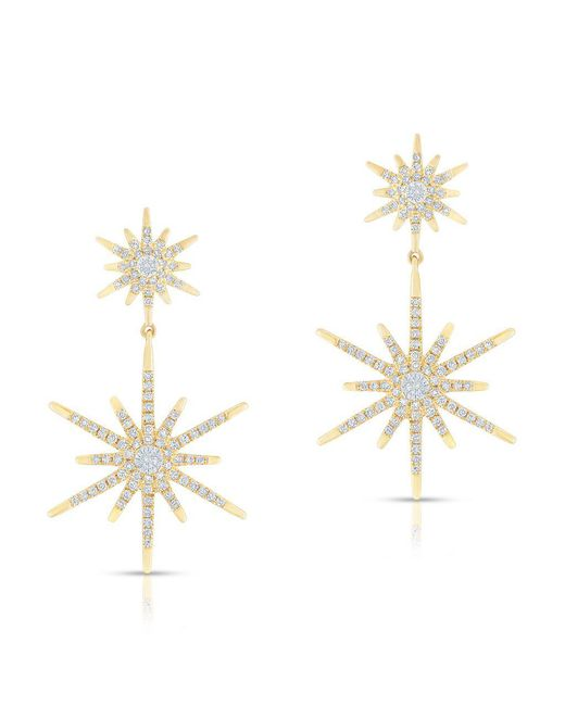 Anne Sisteron | Metallic 14kt Yellow Gold Diamond Bright Star Astraea Earrings | Lyst