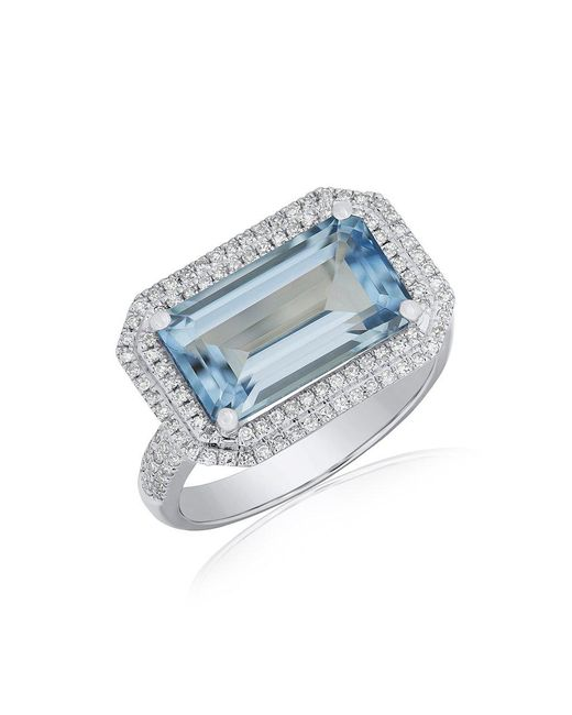 Anne Sisteron - Metallic 14kt White Gold Diamond Aquamarine Rectangle Ring - Lyst