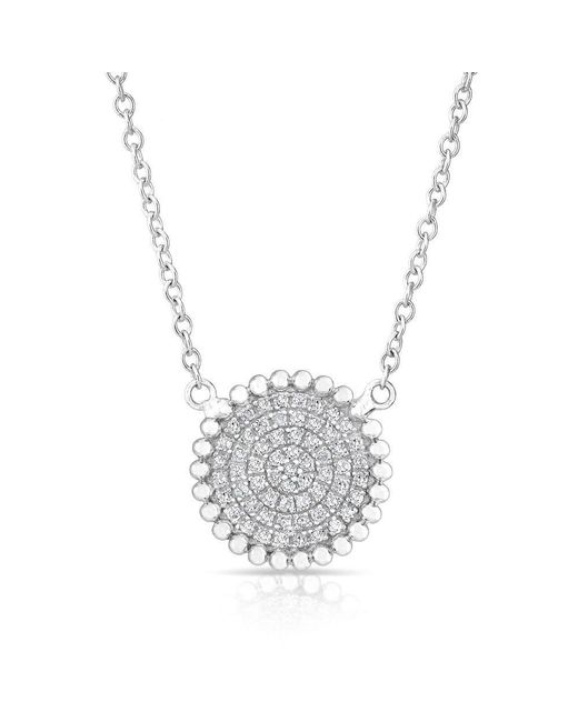 Anne Sisteron - Metallic 14kt White Gold Diamond Large Scalloped Disc Necklace - Lyst