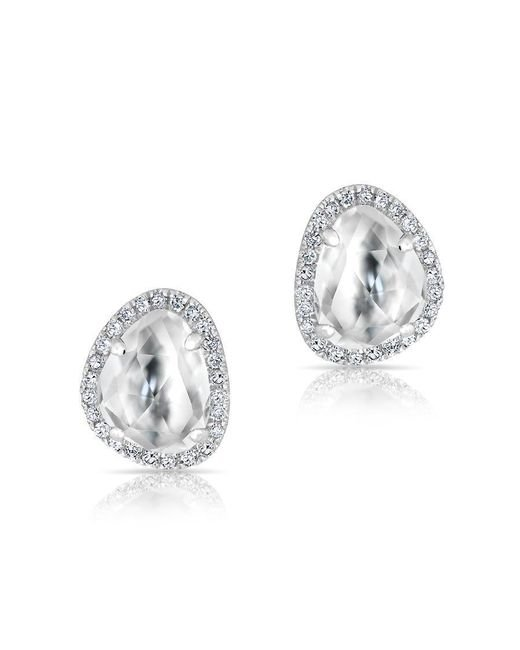 Anne Sisteron | Metallic 14kt White Gold Mini Organic Topaz Diamond Stud Earrings | Lyst