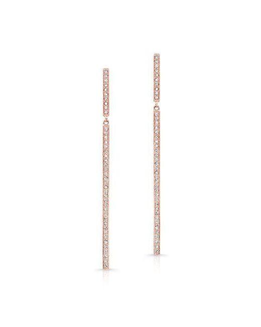 Anne Sisteron - Metallic 14kt Rose Gold Diamond Long Bar Earrings - Lyst