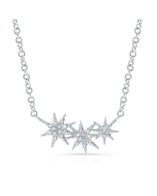 Anne Sisteron - Multicolor 14kt White Gold Diamond Triple Starburst Necklace - Lyst