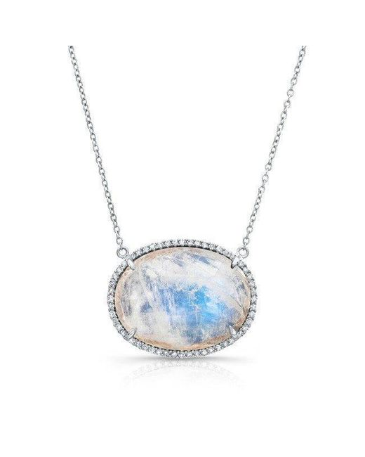 Anne Sisteron | Blue 14kt White Gold Diamond Oval Moonstone Necklace | Lyst