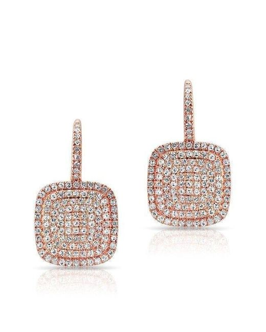 Anne Sisteron - Multicolor 14kt Rose Gold Diamond Cushion Earrings - Lyst