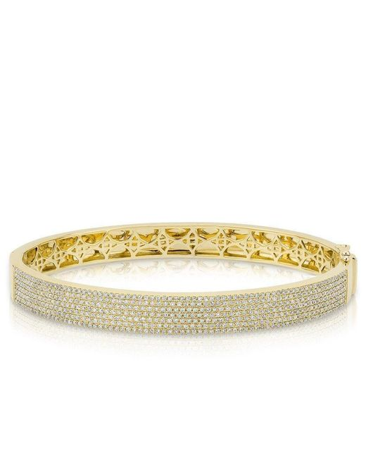 Anne Sisteron - Metallic 14kt Yellow Gold Diamond Belle Half Pave Bangle - Lyst