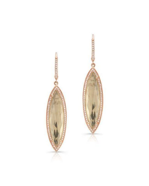Anne Sisteron | Metallic 14kt Rose Gold Diamond White Topaz Serena Marquis Earrings | Lyst