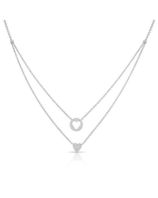 Anne Sisteron - Metallic 14kt White Gold Diamond Heart To Heart Necklace - Lyst