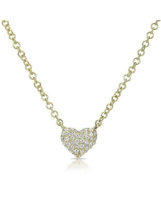Anne Sisteron - Metallic 14kt Yellow Gold Diamond Mini Heart Necklace - Lyst