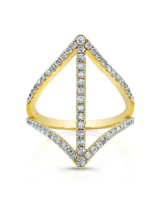 Anne Sisteron - Metallic 18kt Yellow Gold Diamond Spear Ring - Lyst
