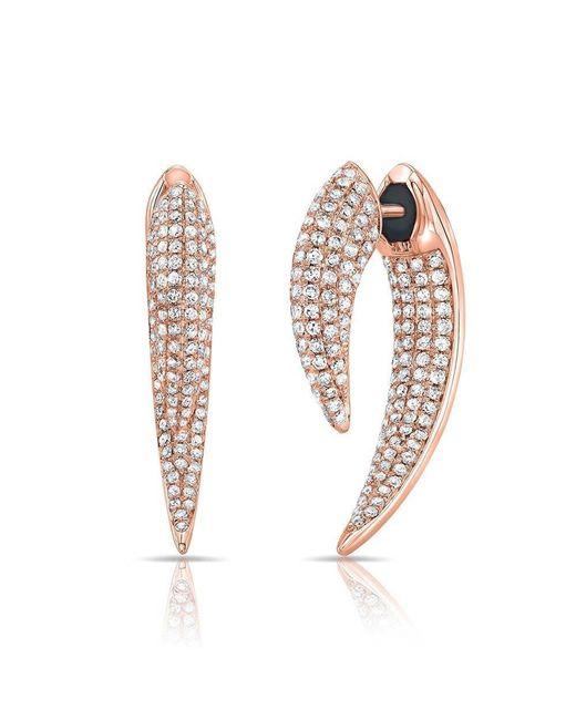 Anne Sisteron | Metallic 14kt Rose Gold Diamond Sabre Earrings | Lyst