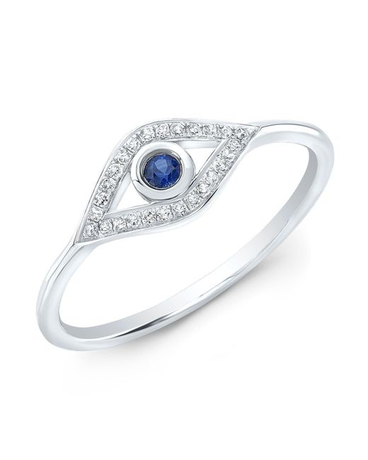 Anne Sisteron - Metallic 14kt White Gold Diamond Sapphire Open Evil Eye Ring - Lyst