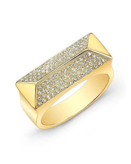 Anne Sisteron - Metallic 14kt Yellow Gold Diamond Pyramid Bar Ring - Lyst