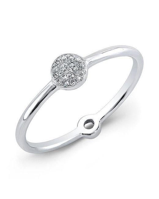 Anne Sisteron - Metallic 14kt White Gold Diamond Mini Disc Ring - Lyst