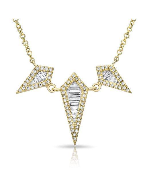 Anne Sisteron - Metallic 14kt Yellow Gold Baguette Diamond Triple Spear Necklace - Lyst