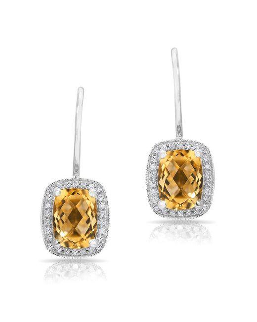 Anne Sisteron - Metallic 14kt White Gold Diamond Citrine Rectangle Earrings - Lyst