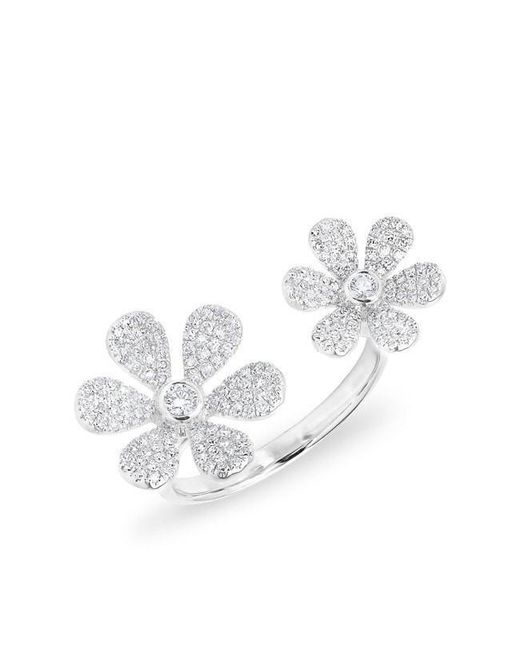 Anne Sisteron - Multicolor 14kt White Gold Diamond Floating Double Daisy Flower Ring - Lyst