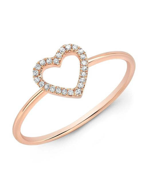 Anne Sisteron - Metallic 14kt Rose Gold Diamond Open Heart Ring - Lyst