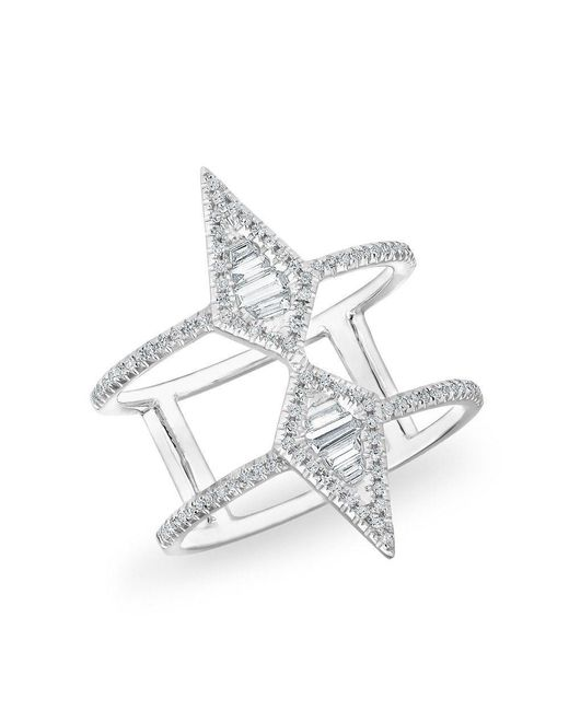 Anne Sisteron - Multicolor 14kt White Gold Baguette Diamond Double Spear Ring - Lyst