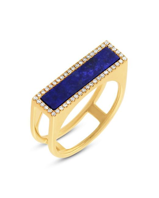 Anne Sisteron - Metallic 14kt Yellow Gold Lapis Lazuli Diamond Bar Ring - Lyst
