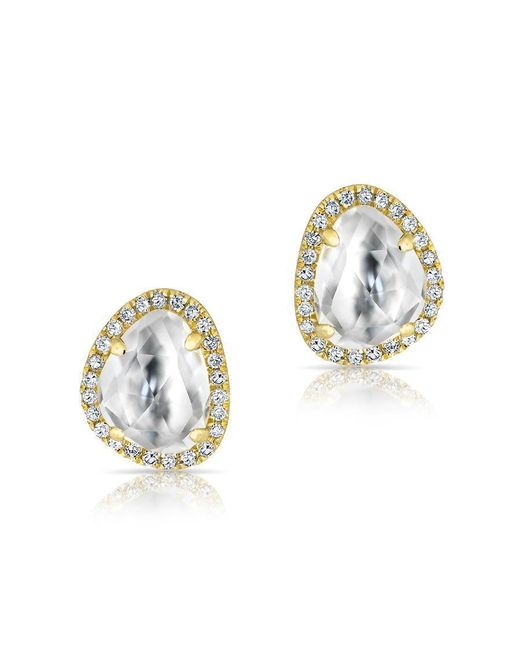 Anne Sisteron | Metallic 14kt Yellow Gold Mini Organic Topaz Diamond Stud Earrings | Lyst