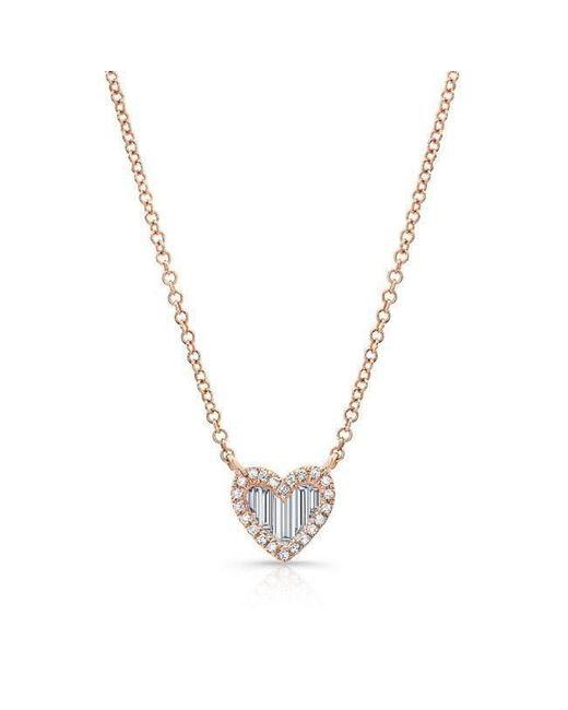 Anne Sisteron - Metallic 14kt Rose Gold Baguette Diamond Heart Necklace - Lyst