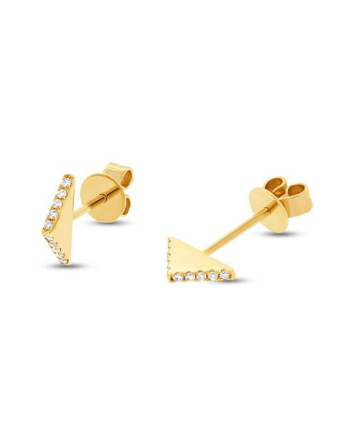 Anne Sisteron - Metallic 14kt Yellow Gold Diamond Mini Edge Bar Earrings - Lyst