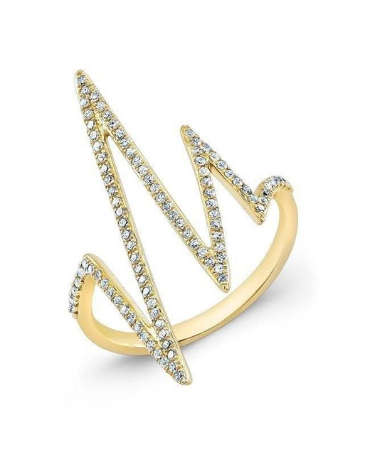 Anne Sisteron - Metallic 14kt Yellow Gold Diamond Heartbeat Ring - Lyst