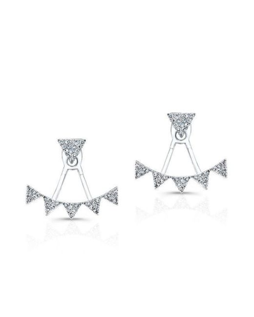 Anne Sisteron - Metallic 14kt White Gold Diamond Triangle Tiara Floating Earrings - Lyst