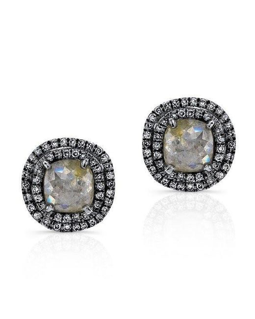 Anne Sisteron - Multicolor 14kt Oxidized White Gold Raw Diamond Double Halo Stud Earrings - Lyst