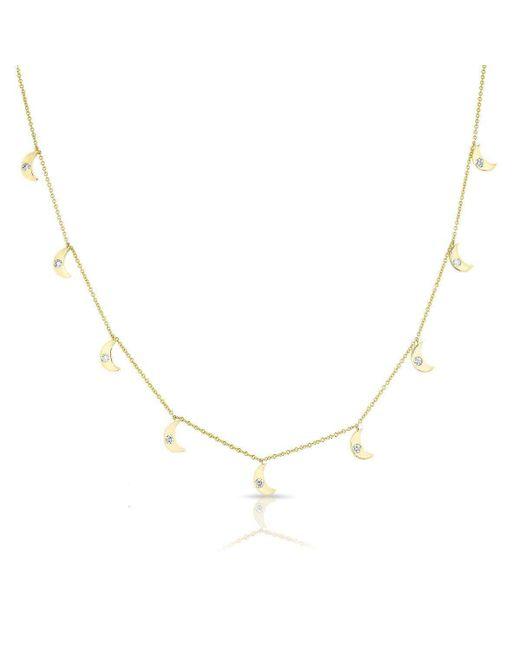 Anne Sisteron - Metallic 14kt Yellow Gold Diamond Moon Drops Necklace - Lyst