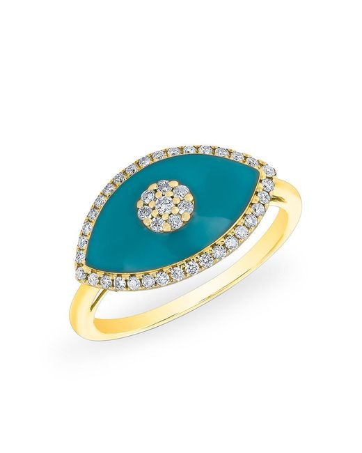 Anne Sisteron - Multicolor 14kt Yellow Gold Diamond Turquoise Evil Eye Summer Ring - Lyst