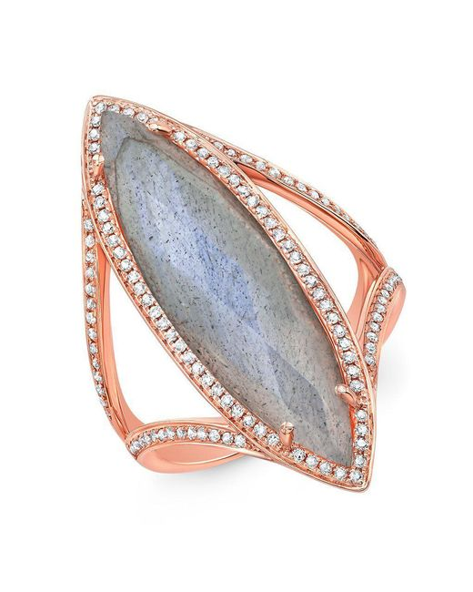 Anne Sisteron - Metallic 14kt Rose Gold Diamond Labradorite Alexis Ring - Lyst