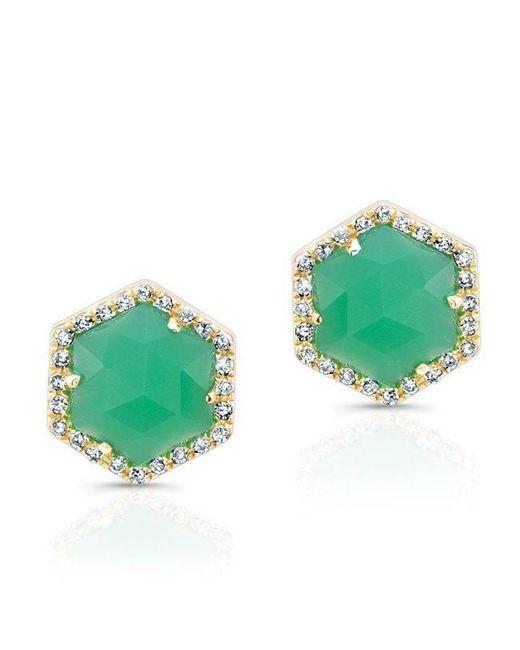 Anne Sisteron - Metallic 14kt Yellow Gold Chrysoprase Diamond Hexagon Stud Earrings - Lyst