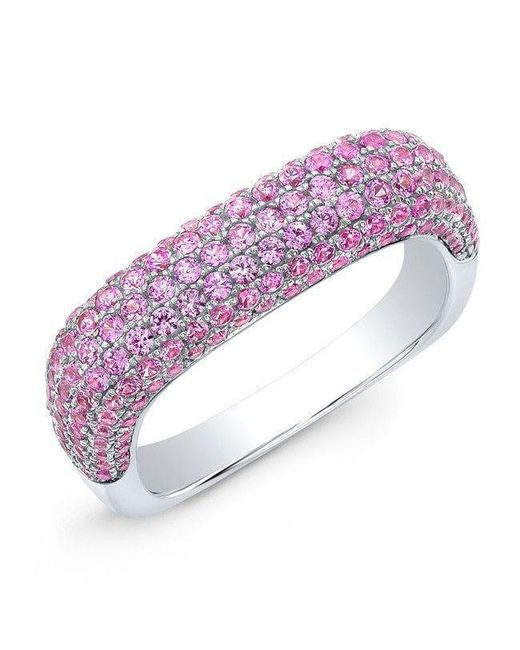 Anne Sisteron - 14kt White Gold Pink Sapphire Square Ring - Lyst