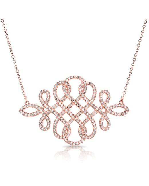 Anne Sisteron - Multicolor 14kt Rose Gold Diamond Woven Lace Necklace - Lyst