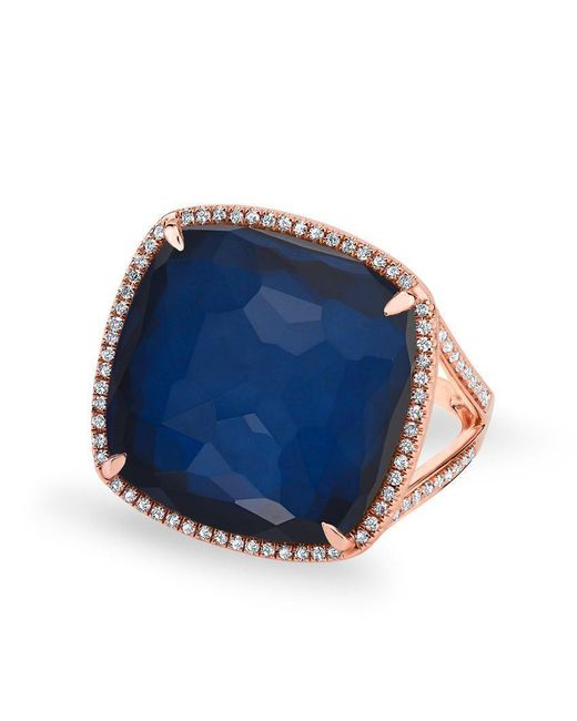 Anne Sisteron | 14kt Rose Gold Diamond Blue Sapphire Laguna Triplet Cushion Cut Cocktail Ring | Lyst