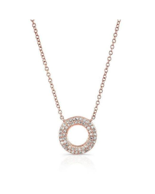 Anne Sisteron - Metallic 14kt Rose Gold Diamond Open Circle Necklace - Lyst